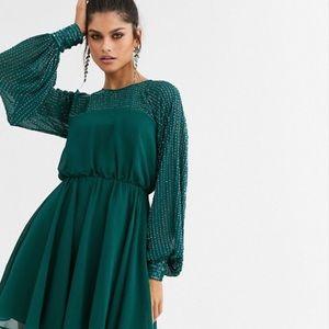 ASOS Emerald Green Beaded Long Sleeve Dress.